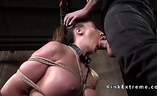 Huge tits slave gets heavy ass spanked