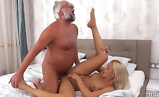 Lucky Grandpa Fucks a Smoking Babe