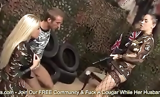 Army Babes Cindy Behr and Kaia Kane Bang A Soldiers Cock On The Battle Feild