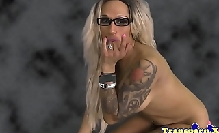 Spex shemale tugging and stroking her cock