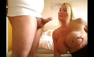 Big butt milf escort rides the cock with an increment of ruins her make-up gagging