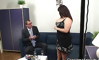 Threesome with big tits mature woman