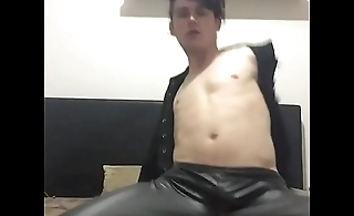 Aussie boy in leather strips slutty shakes ass and cock