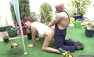 Swiss Granny Seduce German Young Boy to Fuck in the Garden