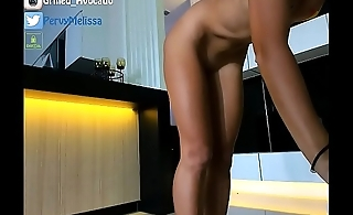 Anal fucks with a glass toy , pink socks