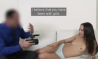 Cute babe gets doggy at casting