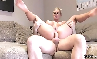Busty blonde has anal British casting