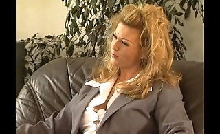 A blonde in heat is waiting for two hard cocks