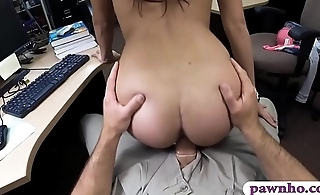 Cute coed with glasses boned by pawn guy