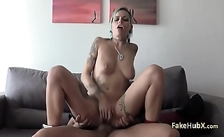 Tattooed bitch nailed cock of flatfoot