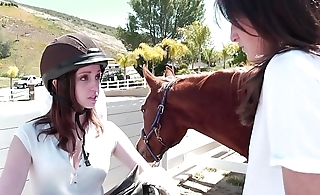 Juicy young crunchies Ally Evans, Kara Price enjoy their lessons at Lesbian Riding School