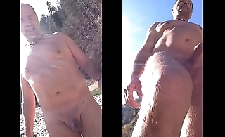 nudist walking and wanking