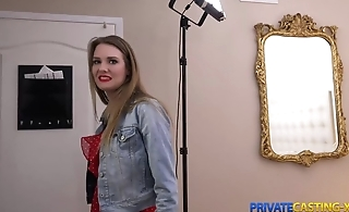 Blonde takes money for fast sex at private casting